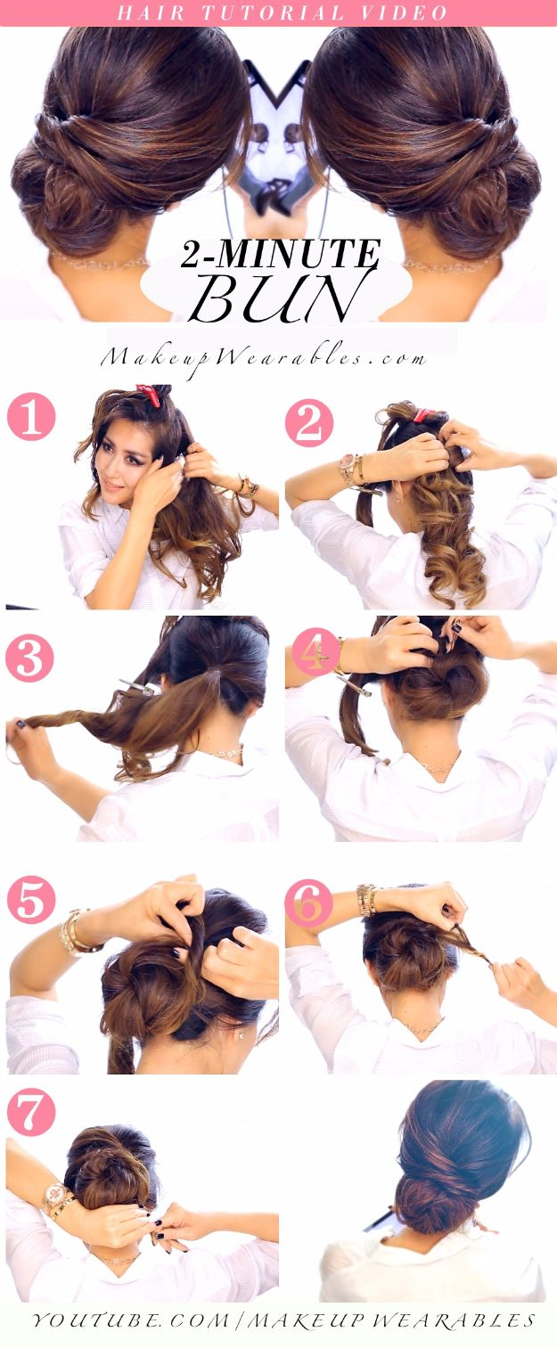 Quick and Easy Updo Hairstyles - 2-MINUTE ELEGANT BUN HAIRSTYLE TOTALLY EASY HAI...