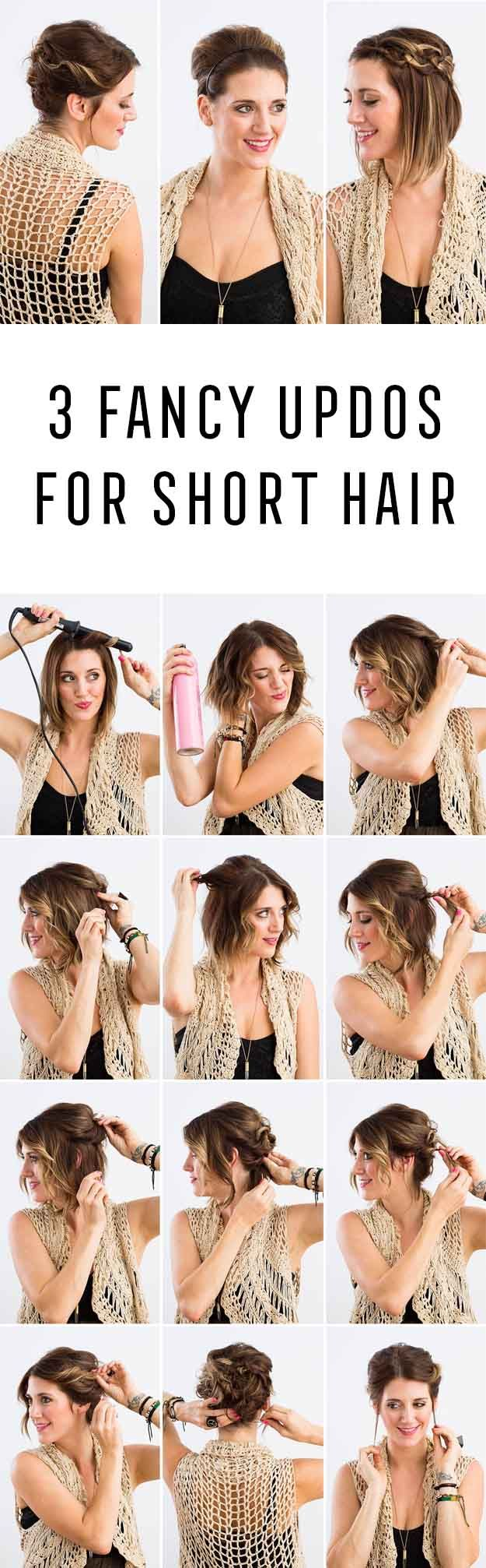 Short Hair Styles You Can Do In 10 Minutes or Less - 3 Fancy Updos for Short Hai...