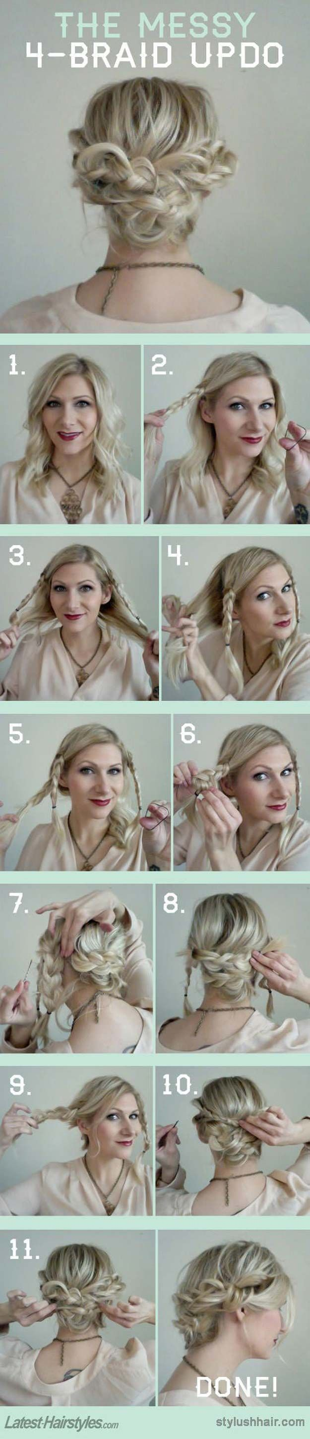 The 48 Best Medium-Length Hairstyles to Steal For Yourself - The Messy 4 Braid U...