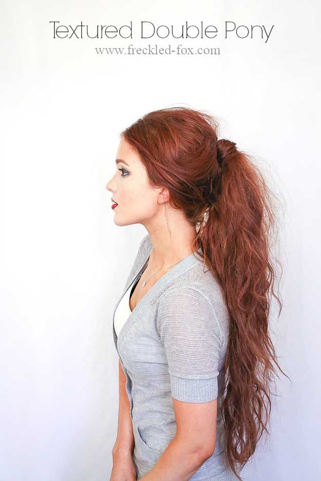 Tips To Instantly Make Your Hair Look Thicker - Textured Double Pony - DIY Produ...