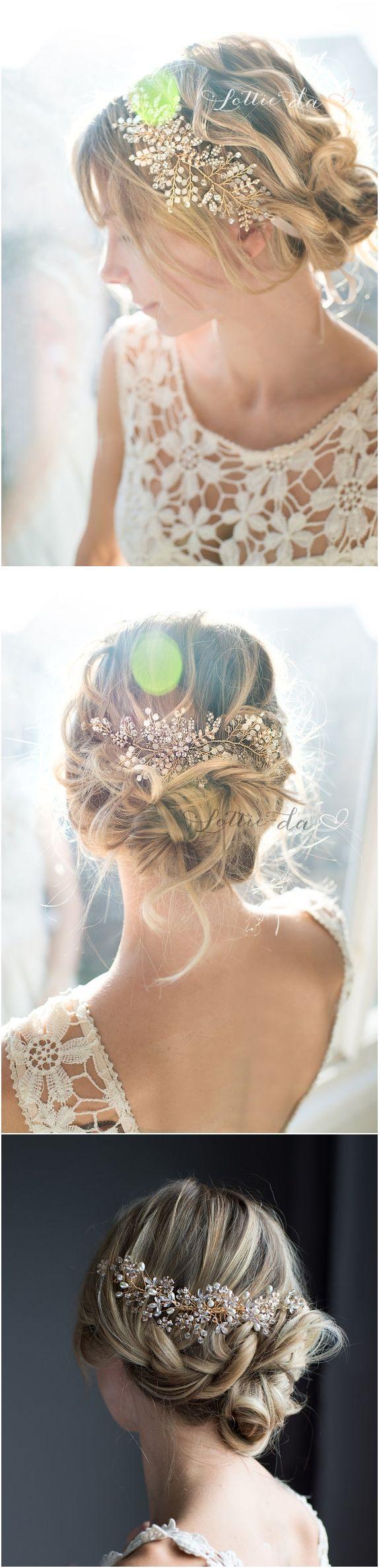 Boho Gold Flower Leaf Hair Vine, Bridal Hair comb, Gold Champagne Flower Hair Co...