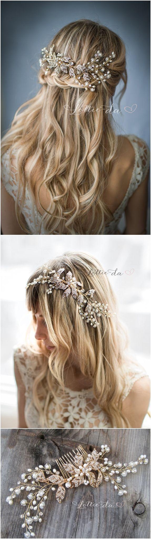 Boho Gold Flower Leaf Hair Vine Wedding Headpiece, Wire Wedding Hair comb, Weddi...
