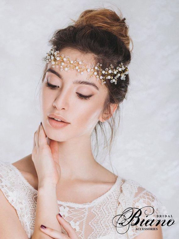 Bridal Crown, Wedding Wreath, Bridal Headband, Bridal Headpiece, Wedding Tiara, ...