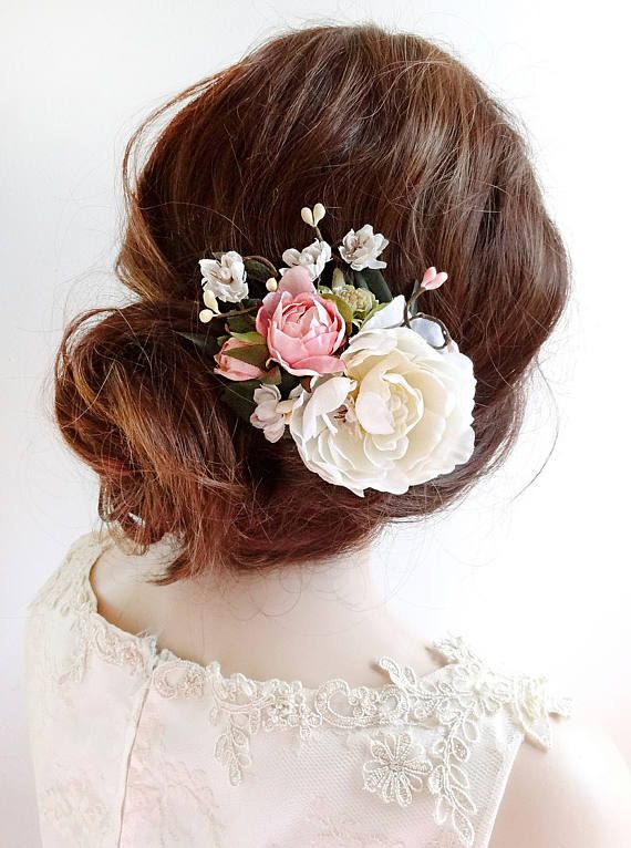 bridal hair clip, floral hair clip, bridal hair piece, pink floral hair comb, br...