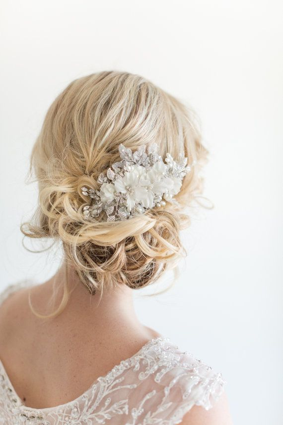 Bridal Hair Comb, Wedding Headpiece, Floral Crystal Hair Comb