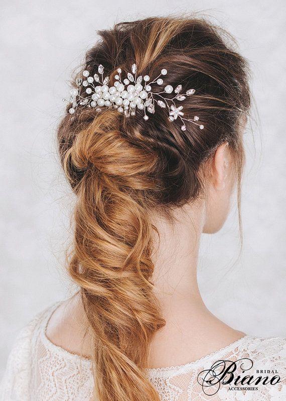 Bridal Headpiece, Bridal Hair Comb, Wedding Hairpiece, Pearl and Rhinestone Hair...