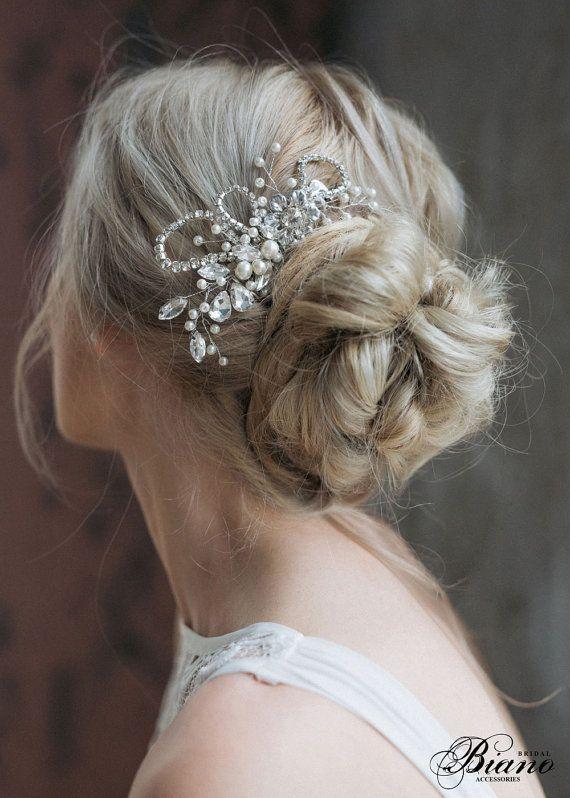 Bridal Headpiece, Wedding Rhinestones Hairpiece, Pearl Haircomb, Bridal Hair Com...