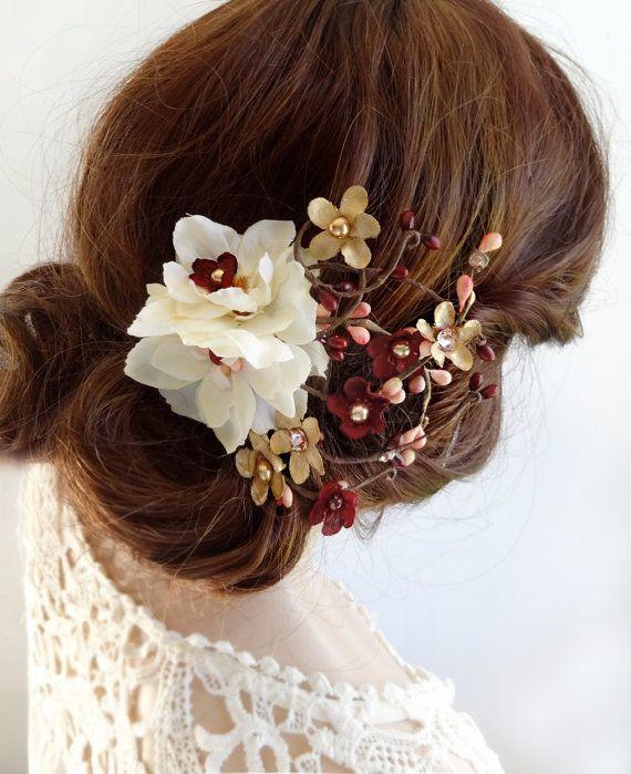 burgundy and gold wedding hair clip, burgundy hair flower, Swarovski crystal acc...
