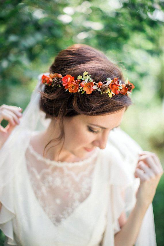 fall flower crown, fall headband, orange hair wreath, autumn floral crown, fall ...