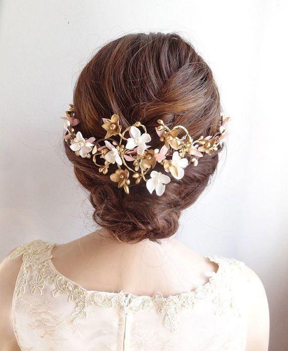 floral hair comb, bridal hair comb, floral hair piece, bridal hair vine, pink an...