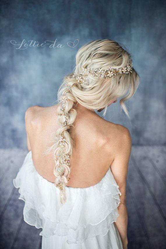 Gold Boho Extra Long Hair Vine Wedding Headpiece Bridal Hair