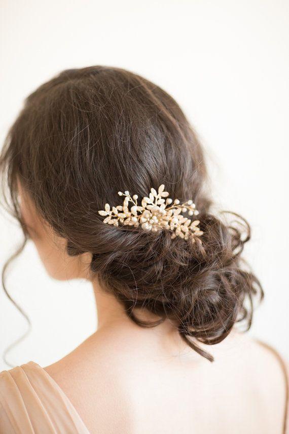 Gold Bridal Comb, Wedding Hair Comb, Gold Wedding Headpiece, Pearl Wedding Comb,...