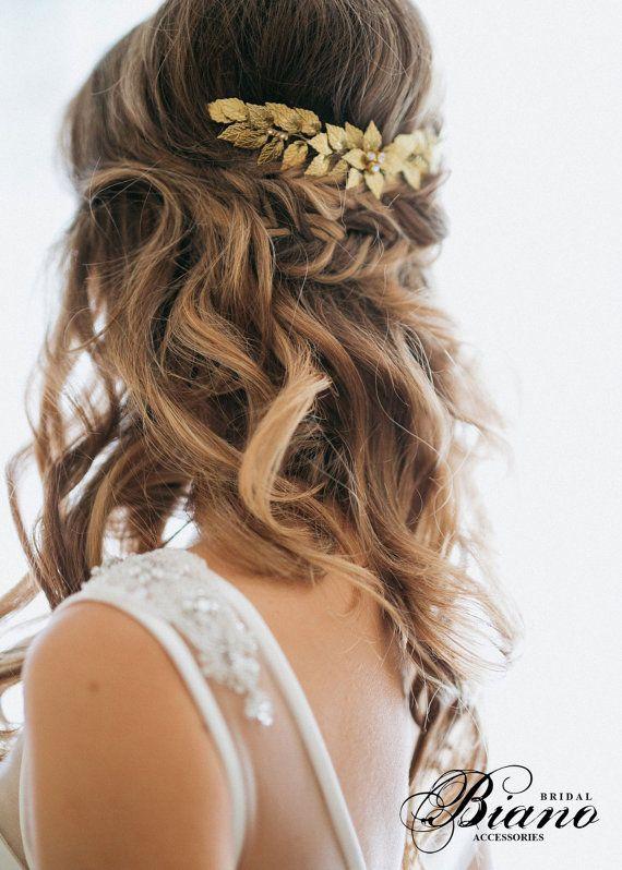 Gold Leaf Bridal Hair Comb, Wedding hair Comb, Rustic Woodland, Bohemian Head Pi...