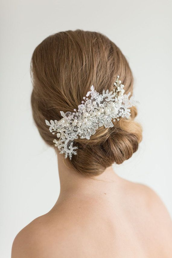 Lace Headpiece,  Crystal Pearl and lace Hair Comb, Wedding Hair Accessory