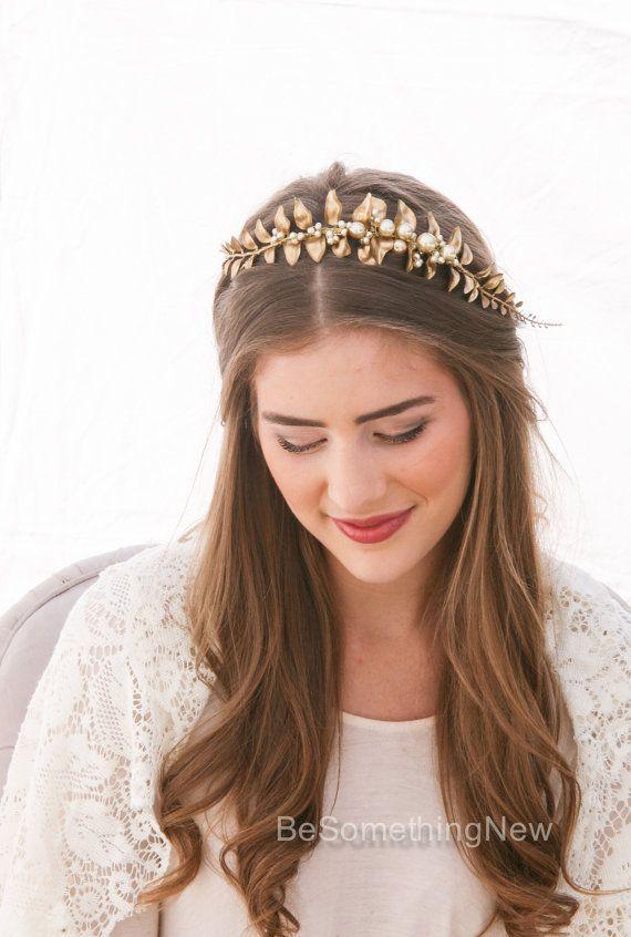 Leaf Headband Golden Leaf and Champagne Pearl Headband Woodland Leaf Wedding Hai...