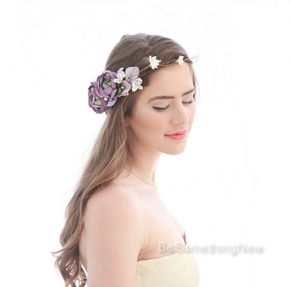 Rustic Flower Crown in Shades of Pink and Purple, Floral Halo Wedding Flower Wre...
