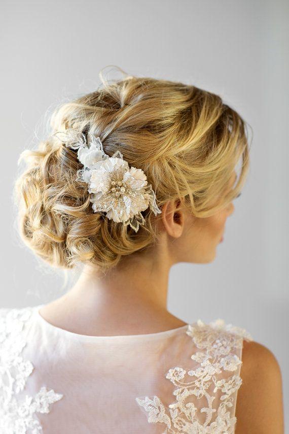 Wedding Hair Comb, Bridal Flower Hair Comb, Wedding Headpiece, Bridal Lace Hair ...