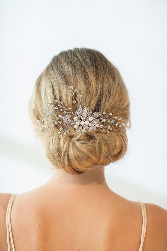Wedding Hair Comb, Wedding Hairpiece, Crystal Bridal Comb, Bridal Headpiece, Fre...