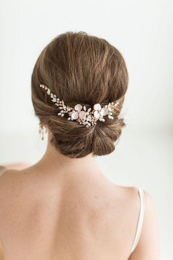 Wedding Hair Vine Set with Earrings , Bridal Headpiece Set, Bridal Pearl Hair Sw...