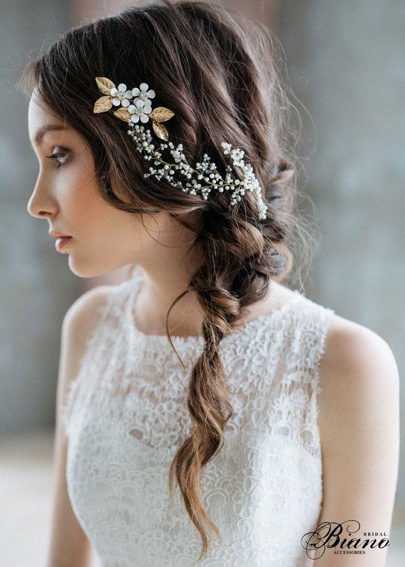 Bridal Headpiece, Bridal Hair Vine , Bridal Pearl Headpiece, Wedding Wreath, Wed...