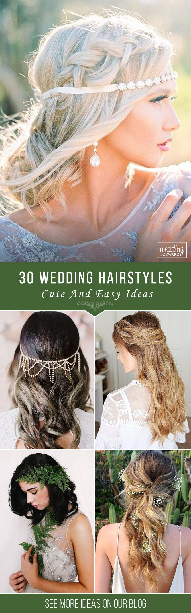 30 Cute And Easy Wedding Hairstyles  ❤ We propose our collection of easy weddi...
