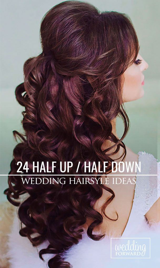 24 Stunning Half Up Half Down Wedding Hairstyles ❤ These elegant curly half up...
