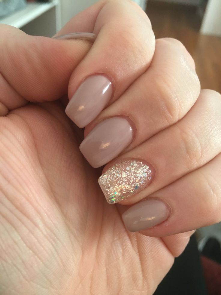 back-to-school-hairstyles-classy-tan-nude-acrylic-nails-with-silver ...