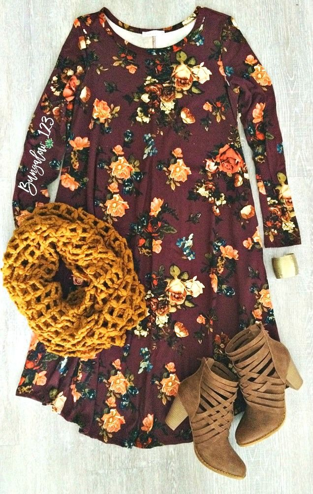 Gorgeous Floral Dress in Burgundy featuring a vintage floral motif throughout. U...