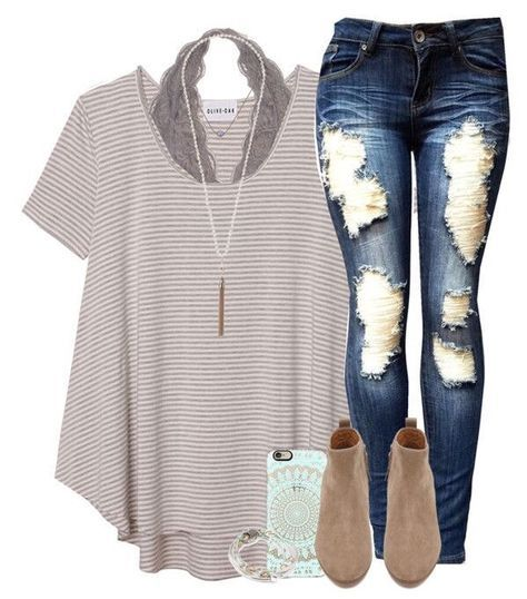 Outfit for School // A striped t-shirt, cute lace bralette, and a pair of bootie...