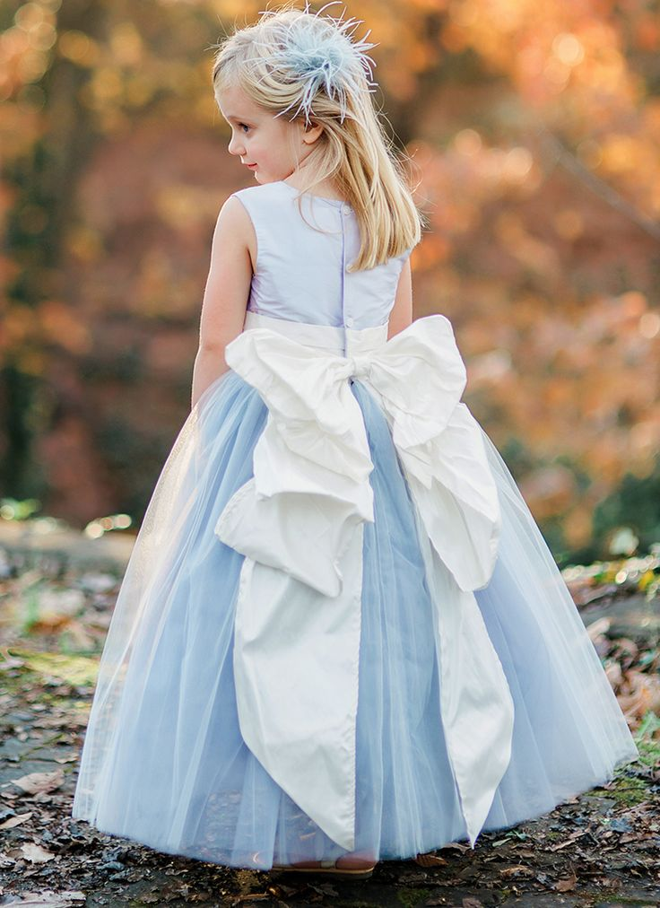 Pegeen.com Flower Girl Dresses custom flower girl dress in light blue with Cinde...