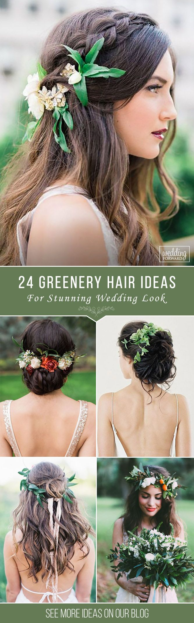 24 Stunning Greenery Wedding Hair Ideas ❤ Don't waste your time on searching...