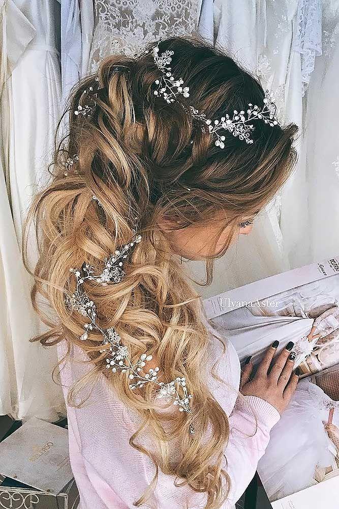 24 Stunning Half Up Half Down Wedding Hairstyles ❤️ These elegant curly half...