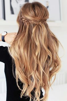 Beautiful blonde wavy hair! Half up half down with braids. Try a soft finish hai...