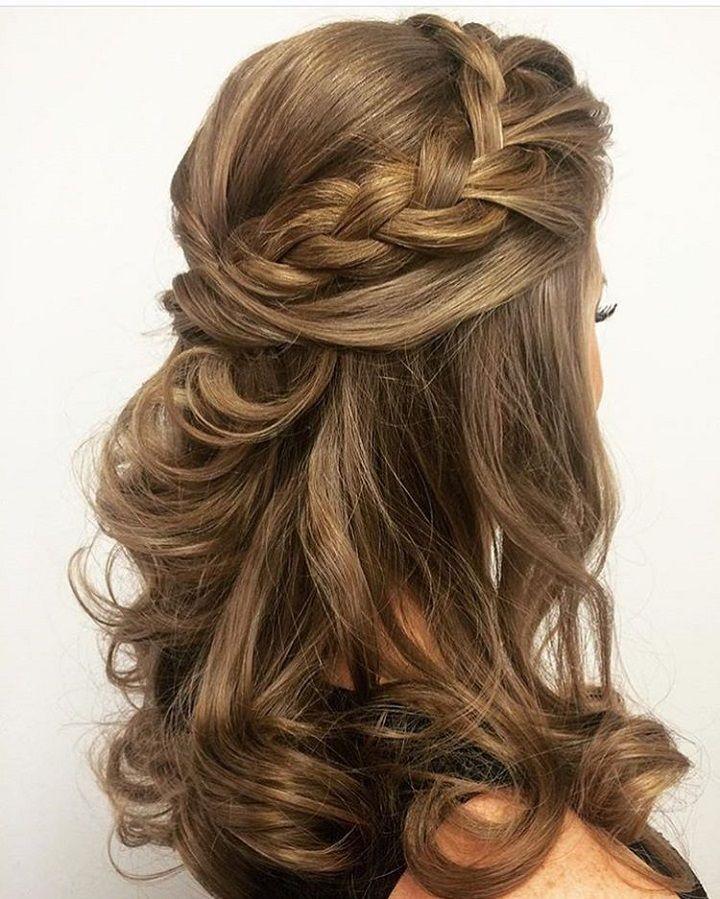 Braid crown + Half up half down hairstyle #weddinghair #hairstyle #promhair #bri...