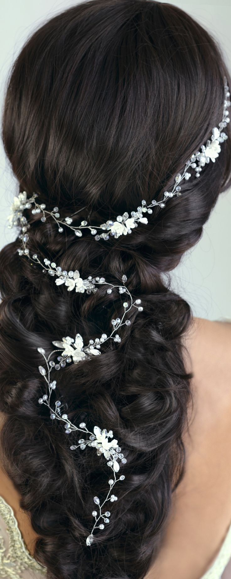 bridal hair vine, wedding hair vine, gold hair vine, pearl hair vine, flower hai...