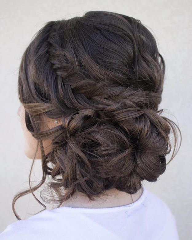 Dutch Fishtail Updo   12 Curly Homecoming Hairstyles You Can Show Off