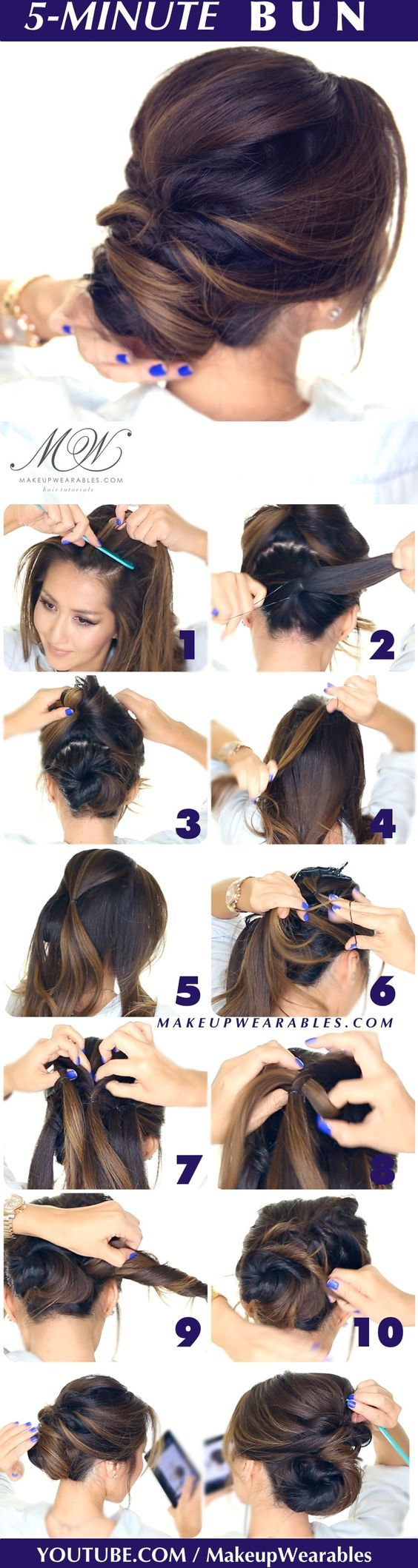 hair tutorial - easy romantic bun hairstyle - Elegant twisted bun hairstyles for...