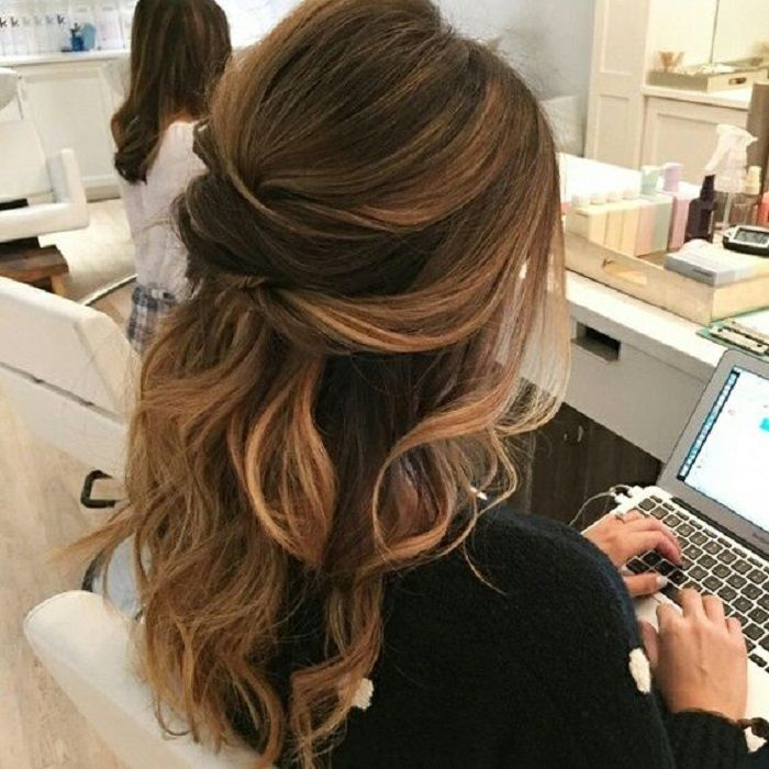 Half up half down wedding hairstyles,partial updo bridal hairstyles - a great op...