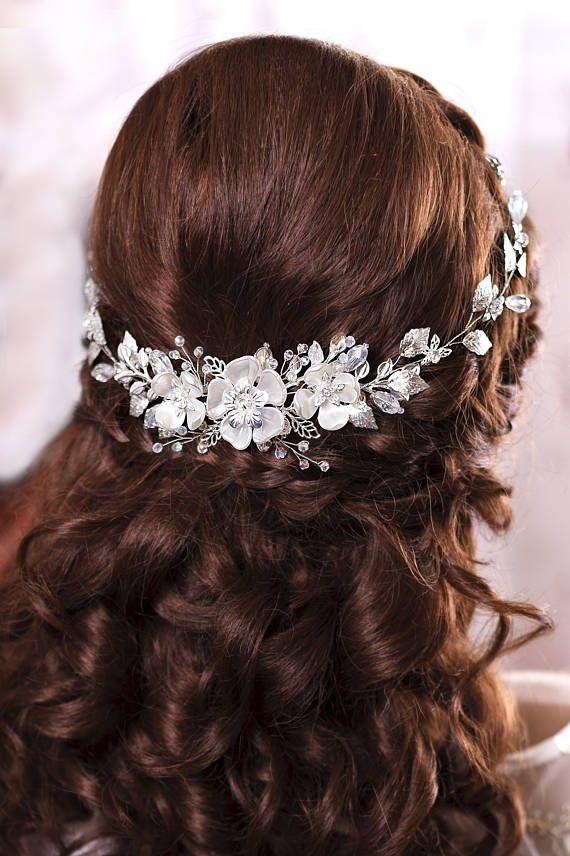Bridal hair piece Bridal headband Wedding head band Bridal hairpiece Bridal head...