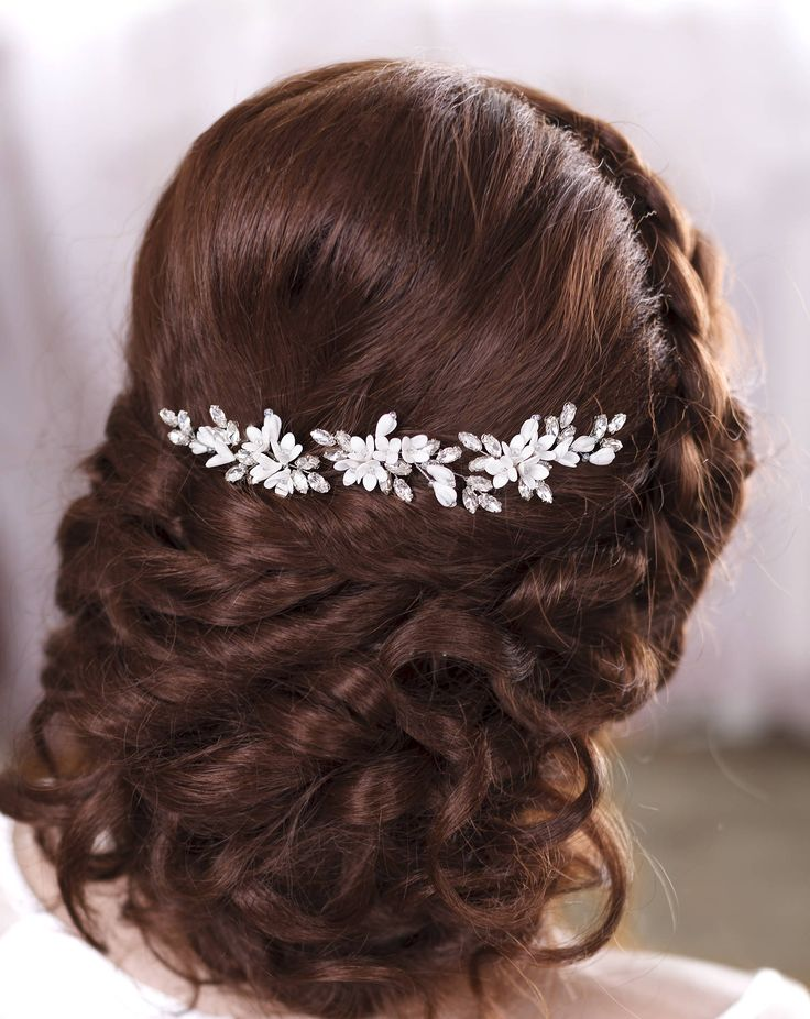 Ivory bridal hair pins White bridal hairpiece Ivory hair piece by TopGracia