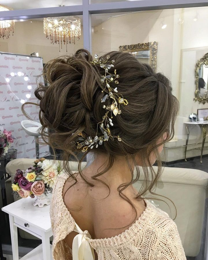 Bridal Hairstyles Inspiration Messy Bridal Hair Updo With Hair