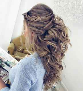 Pretty Half up half down hairstyles - Pretty partial updo wedding hairstyle is a...