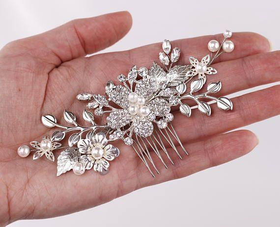 Silver hair comb Leaf hair comb Wedding hair comb Bridal hair comb Flower hair c...