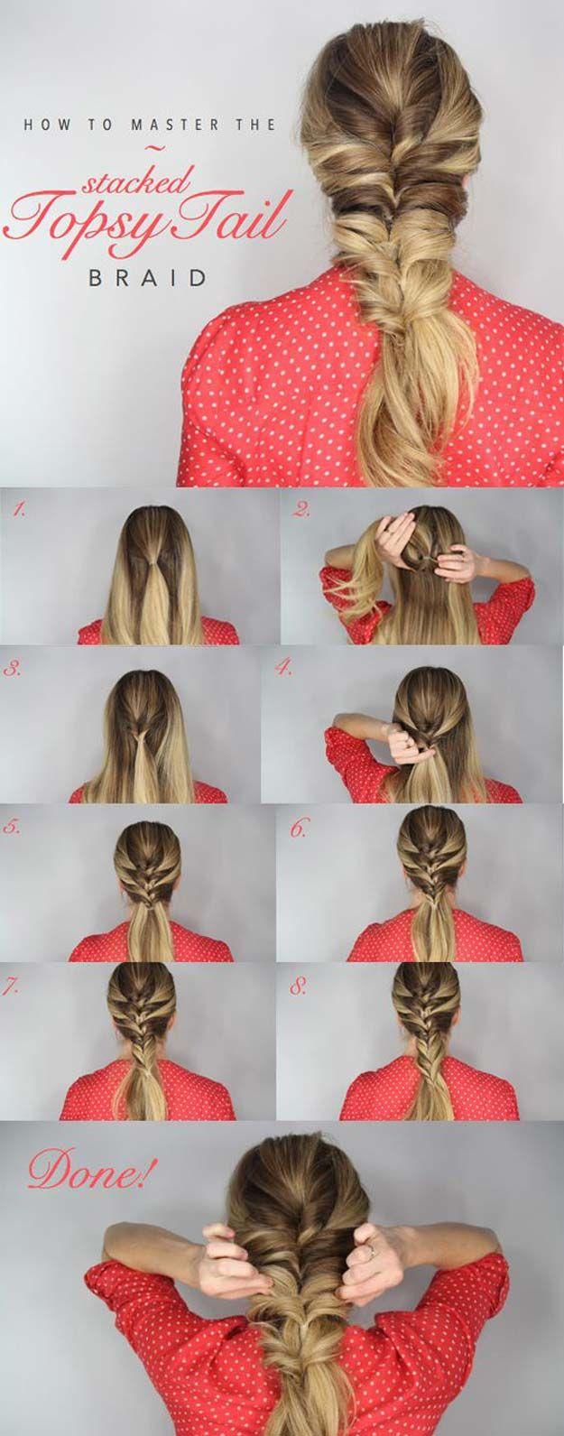 Best Hair Braiding Tutorials - Topsy Tail Braid - Easy Step by Step Tutorials fo...