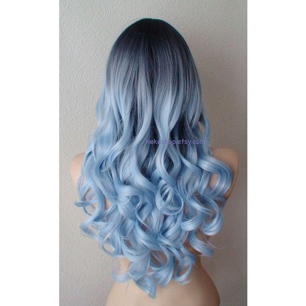 Light blue Ombre wig. Dark roots Pastel silver blue wig. Long curly... ($150) ...