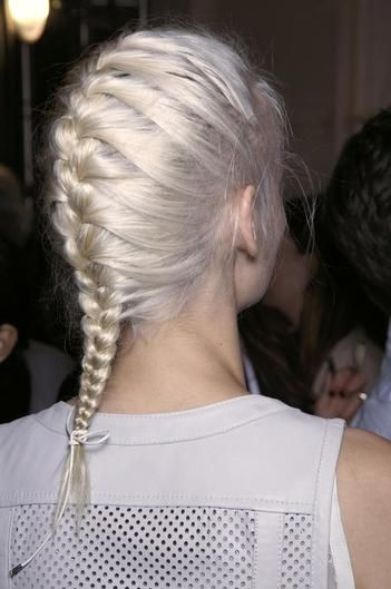 Classic french braid with modern white blonde hair