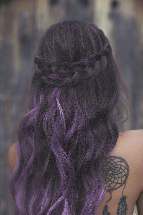 dark purple hair + cute braid