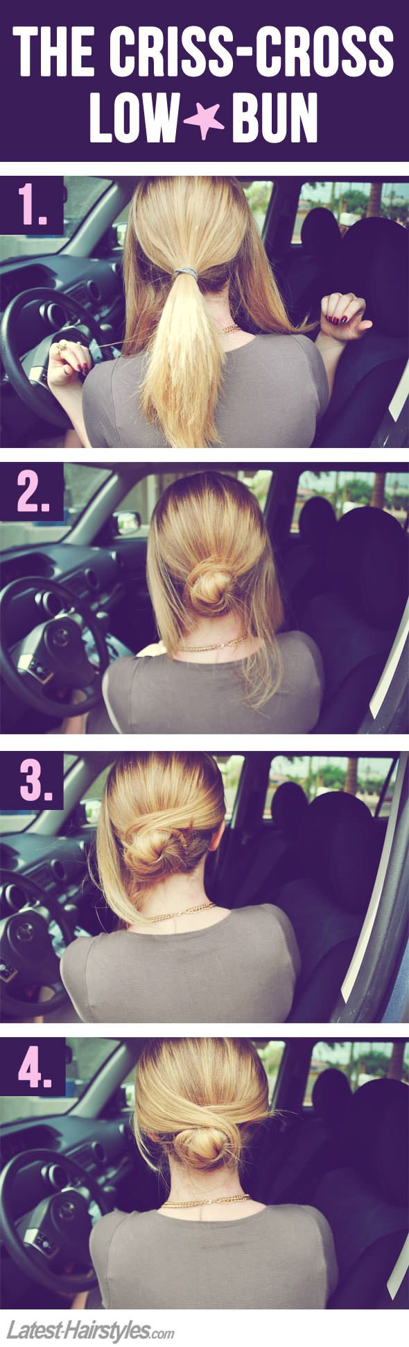 easy criss-cross low bun