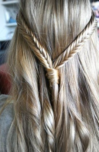 fishtail braid half-up