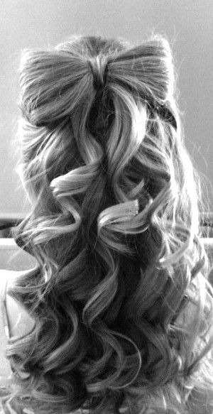 hair bow and curls